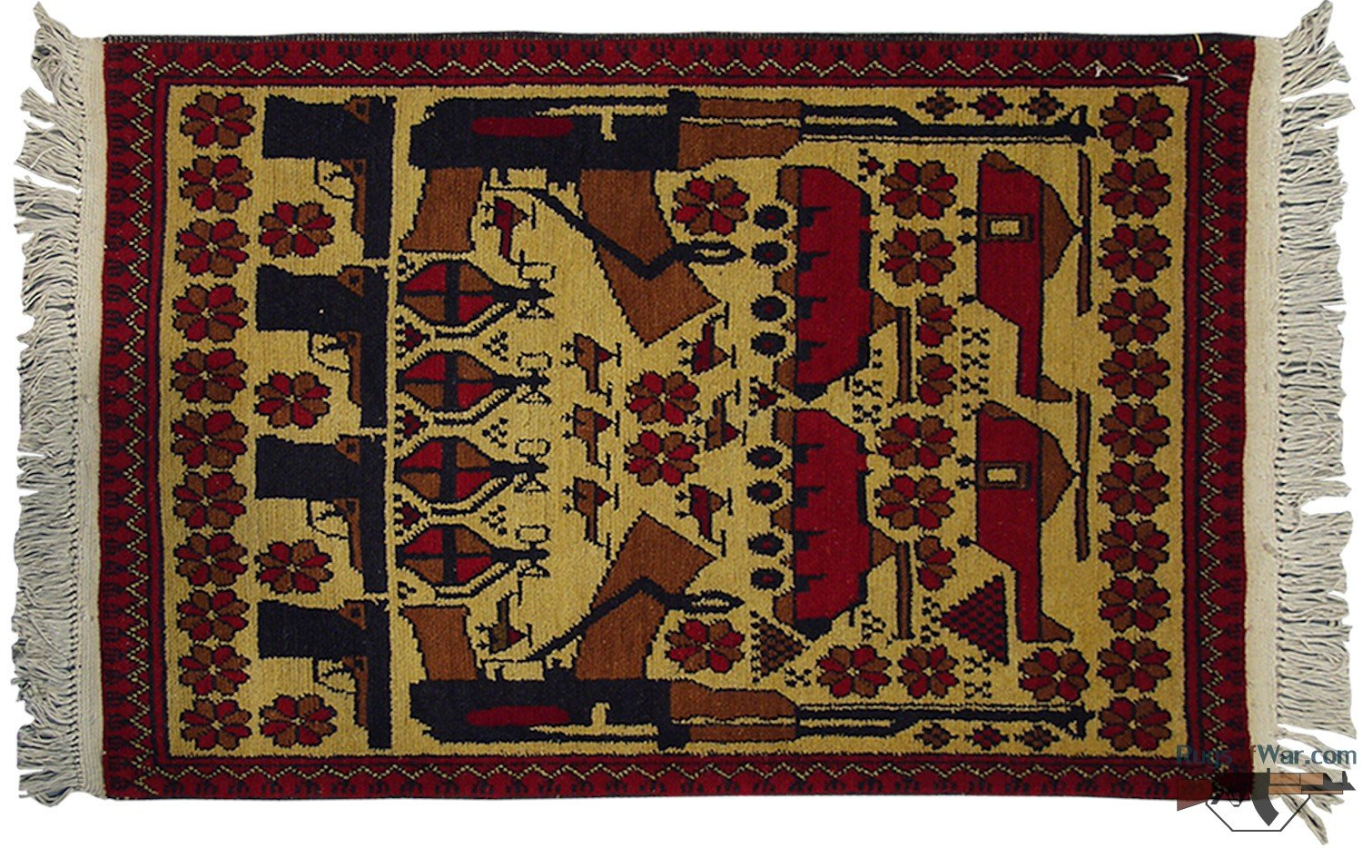 Delightful Authentic Afghan War Rug